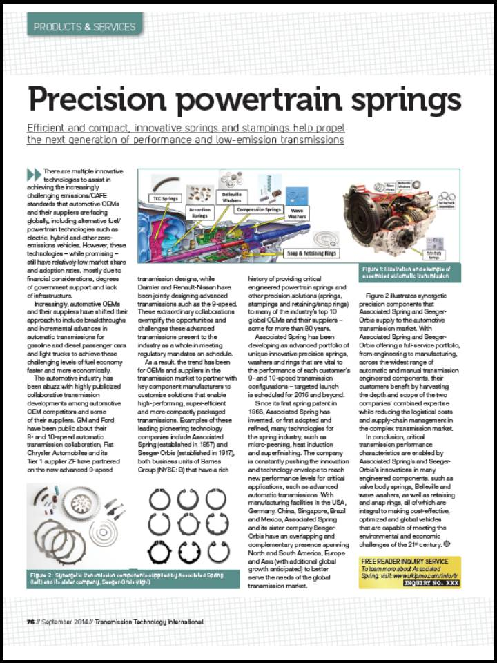 Transmission Tech International article showcases Associated Spring's innovative precision powertrain springs.