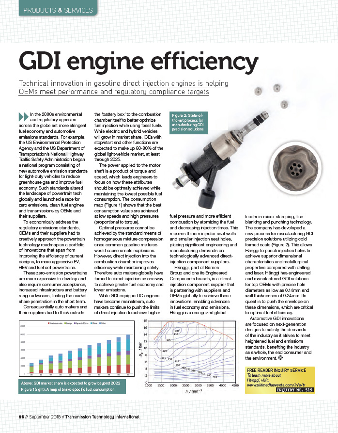GDI Engine Efficiency in Transmission Technology International Magazine